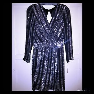 Sequin Black and Silver Party Dress- Size 6